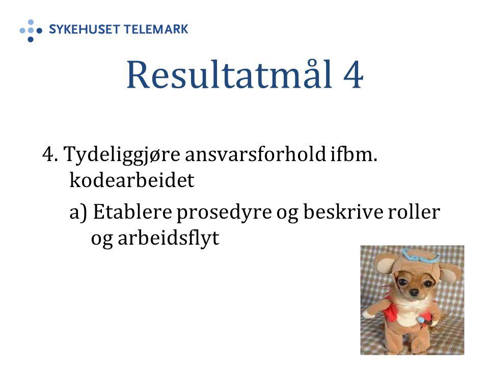 Resultatmål 4 4. Tydeliggjøre ansvarsforhold ifbm.