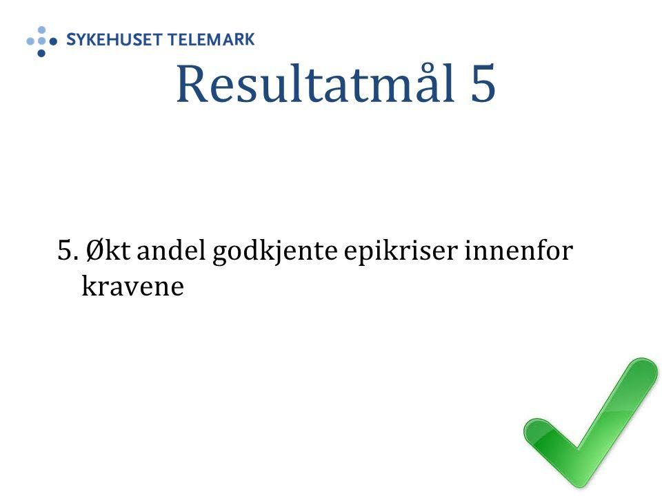 Resultatmål 5 5. Økt andel godkjente epikriser innenfor kravene