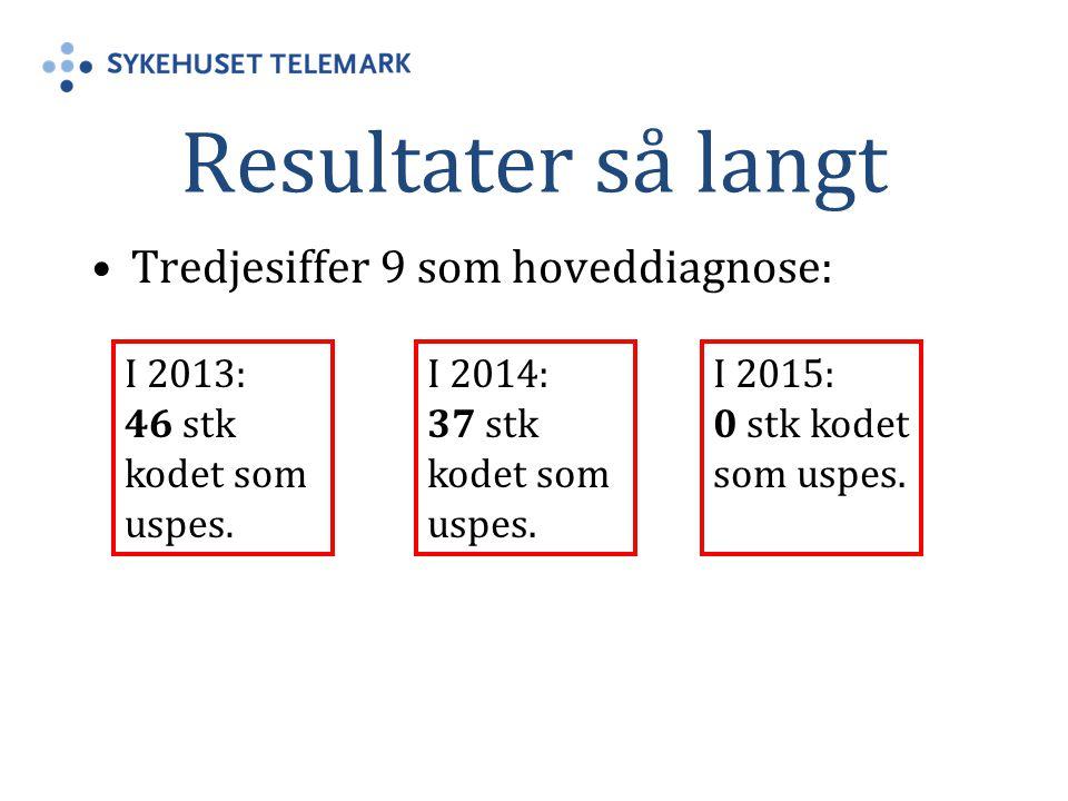 Resultater så langt Tredjesiffer 9 som hoveddiagnose: I 2013: