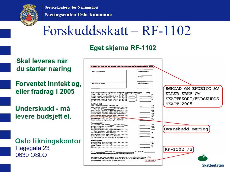 Forskuddsskatt – RF-1102 Næringsetaten Oslo Kommune