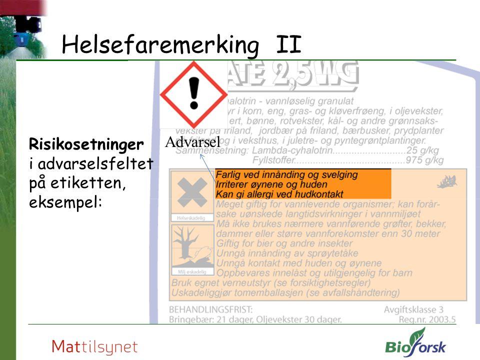 Helsefaremerking II Advarsel