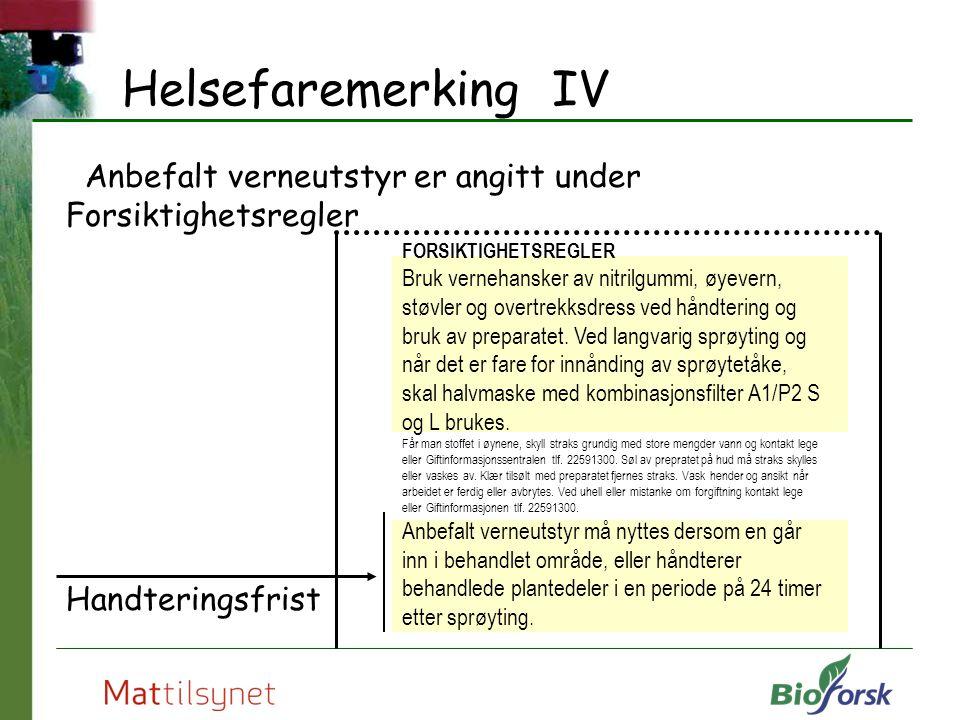Helsefaremerking IV Anbefalt verneutstyr er angitt under Forsiktighetsregler. Handteringsfrist. FORSIKTIGHETSREGLER.