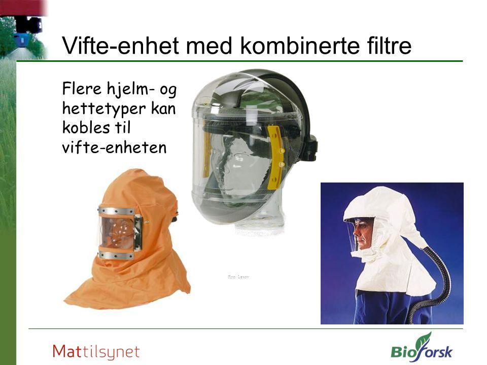 Flere hjelm- og hettetyper kan kobles til vifte-enheten