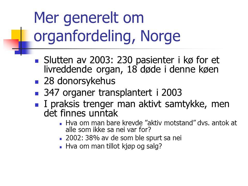 Mer generelt om organfordeling, Norge