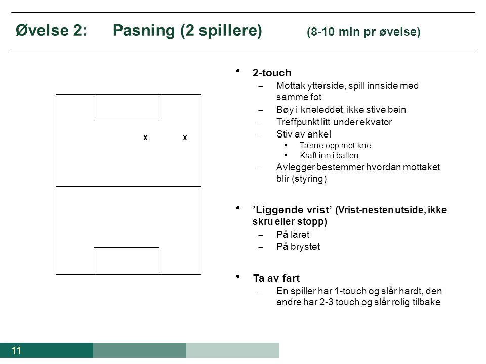 Øvelse 2: Pasning (2 spillere) (8-10 min pr øvelse)