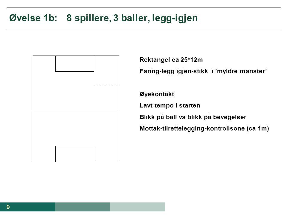 Øvelse 1b: 8 spillere, 3 baller, legg-igjen