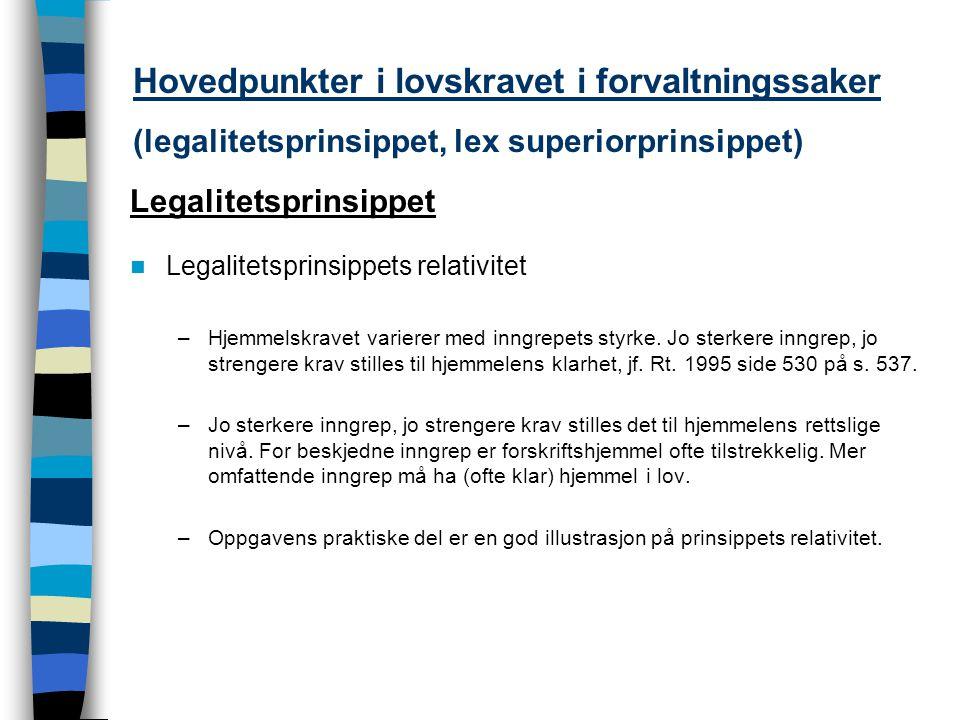 Hovedpunkter i lovskravet i forvaltningssaker (legalitetsprinsippet, lex superiorprinsippet)
