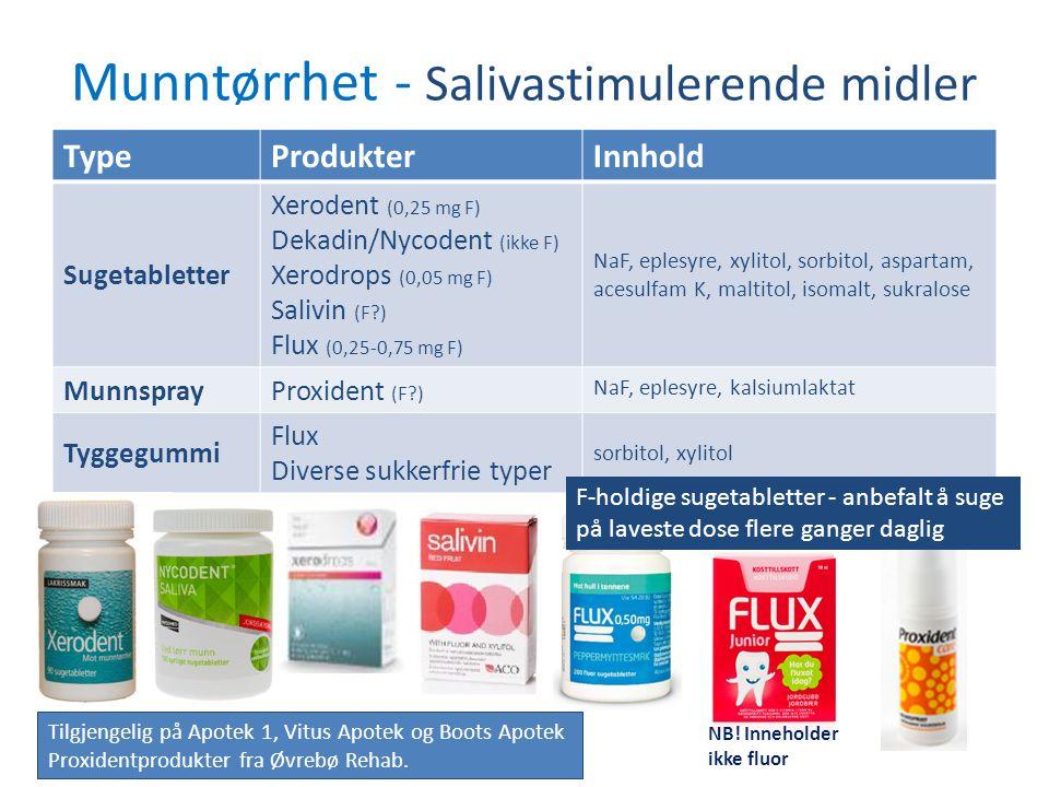 Munntørrhet - Salivastimulerende midler