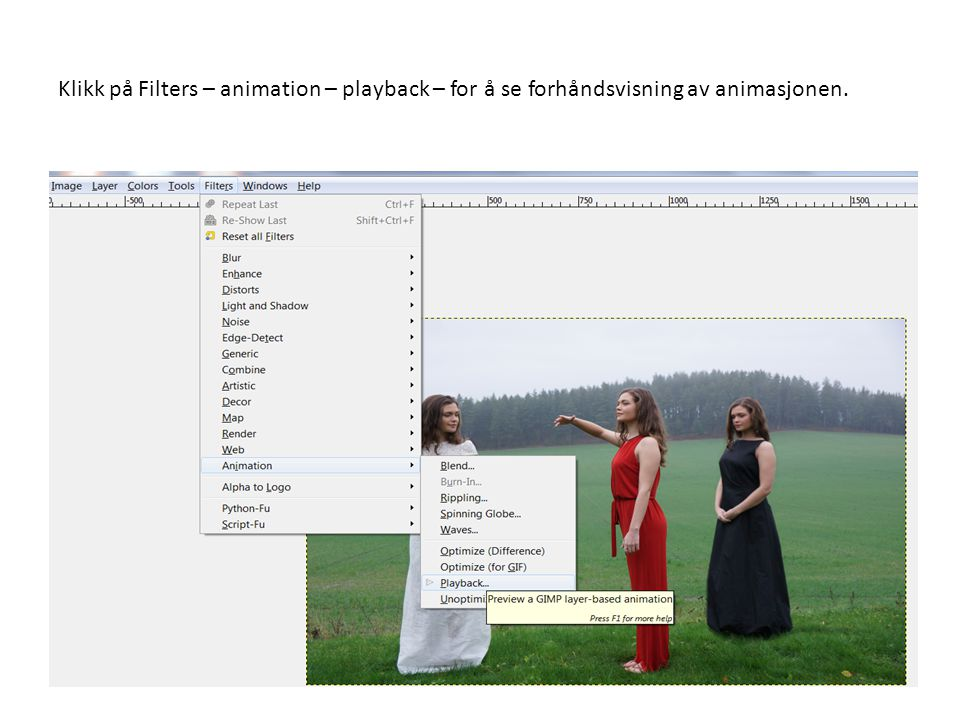 Klikk på Filters – animation – playback – for å se forhåndsvisning av animasjonen.