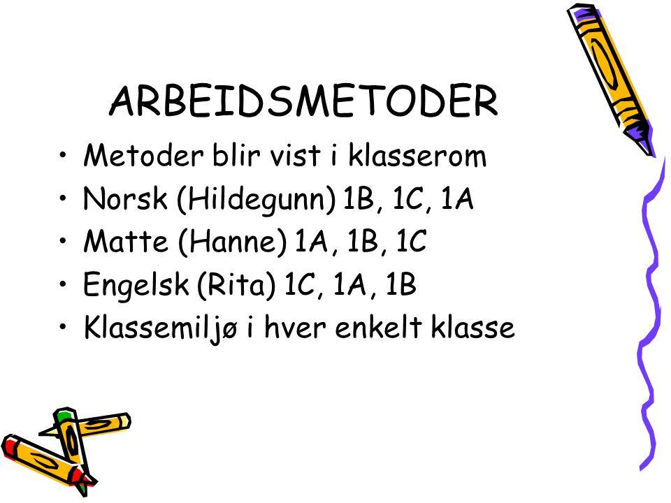 ARBEIDSMETODER Metoder blir vist i klasserom