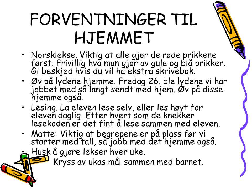 FORVENTNINGER TIL HJEMMET