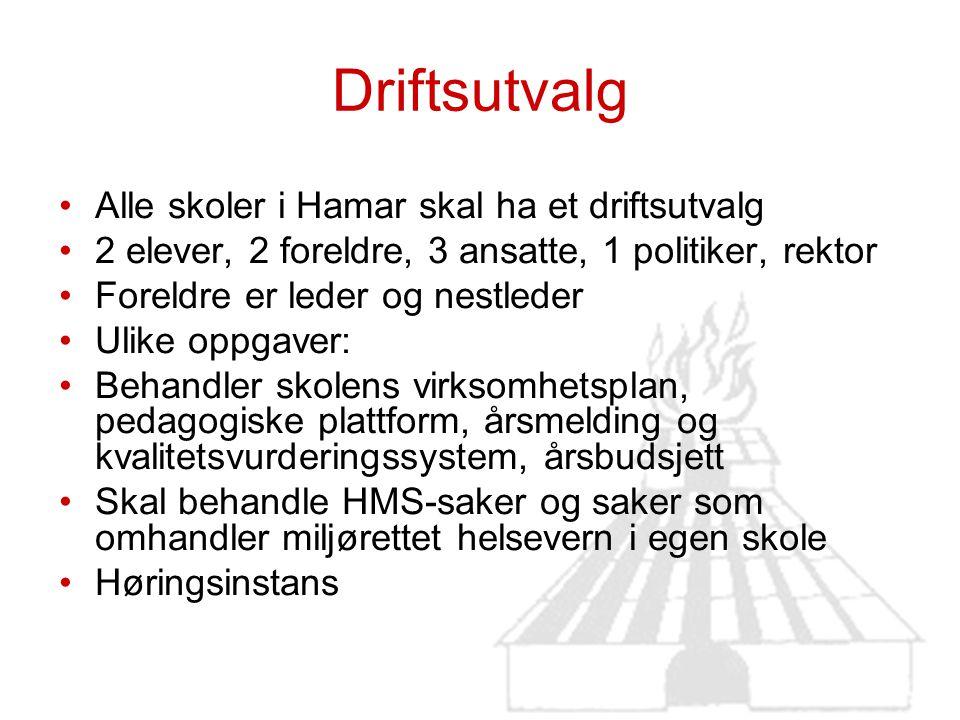 Driftsutvalg Alle skoler i Hamar skal ha et driftsutvalg