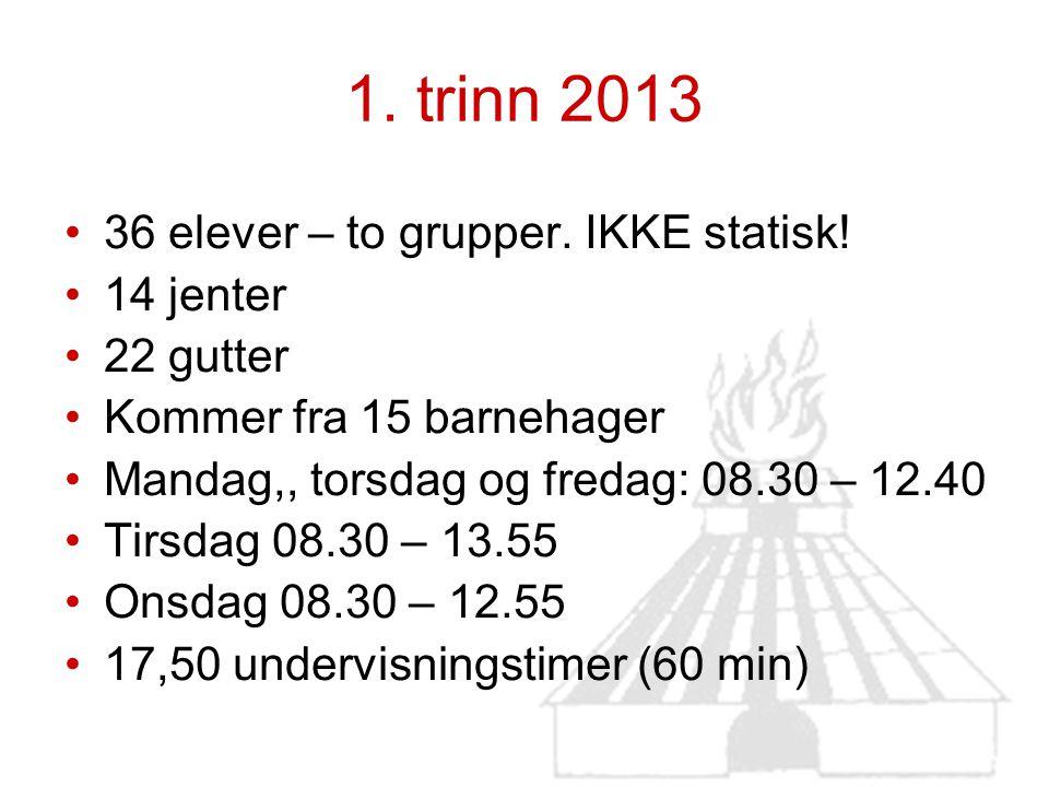 1. trinn 2013 36 elever – to grupper. IKKE statisk! 14 jenter
