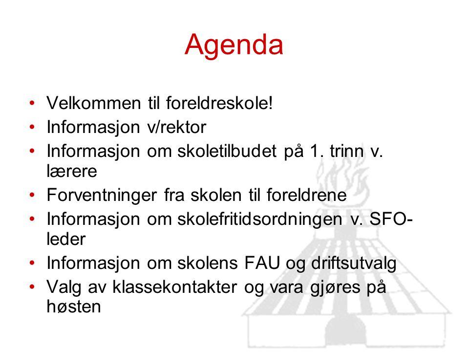 Agenda Velkommen til foreldreskole! Informasjon v/rektor