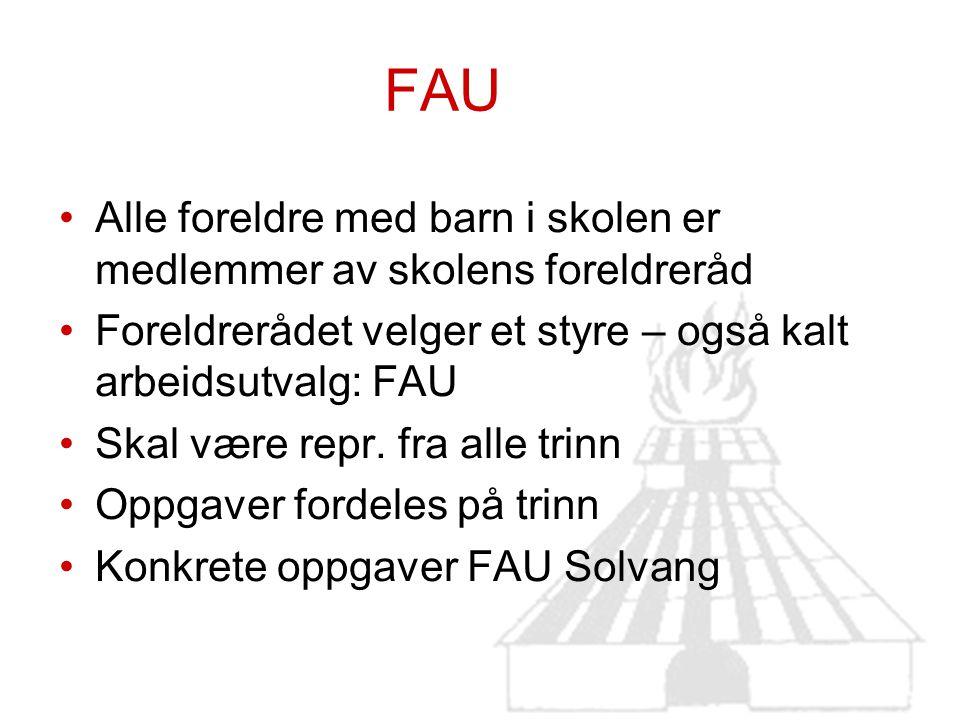 FAU Alle foreldre med barn i skolen er medlemmer av skolens foreldreråd. Foreldrerådet velger et styre – også kalt arbeidsutvalg: FAU.