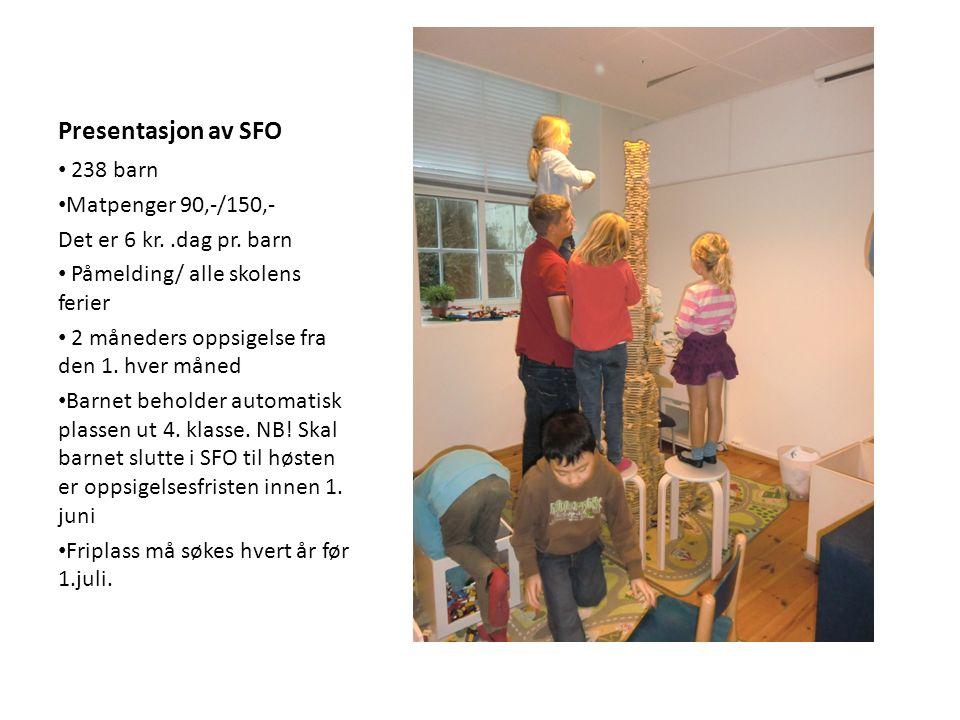 Presentasjon av SFO 238 barn Matpenger 90,-/150,-