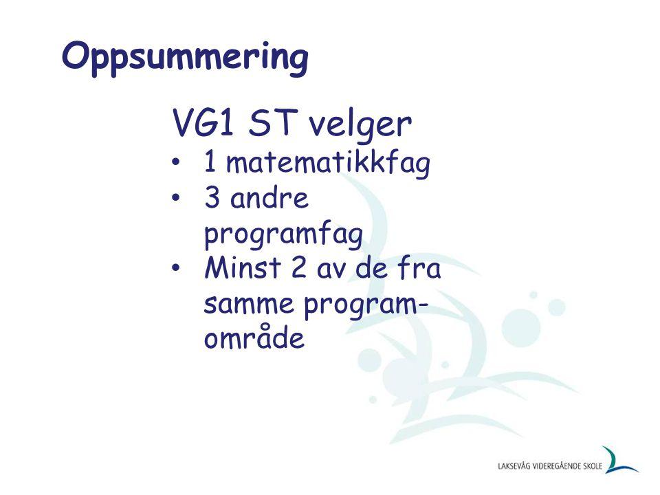 Oppsummering VG1 ST velger 1 matematikkfag 3 andre programfag