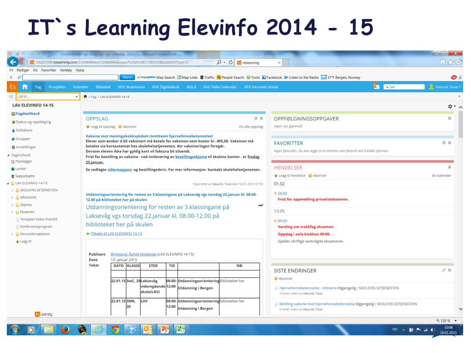 IT`s Learning Elevinfo 2014 - 15