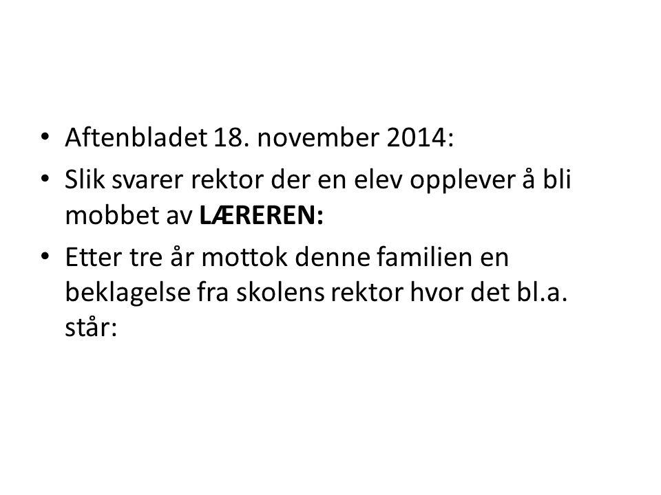 Aftenbladet 18. november 2014:
