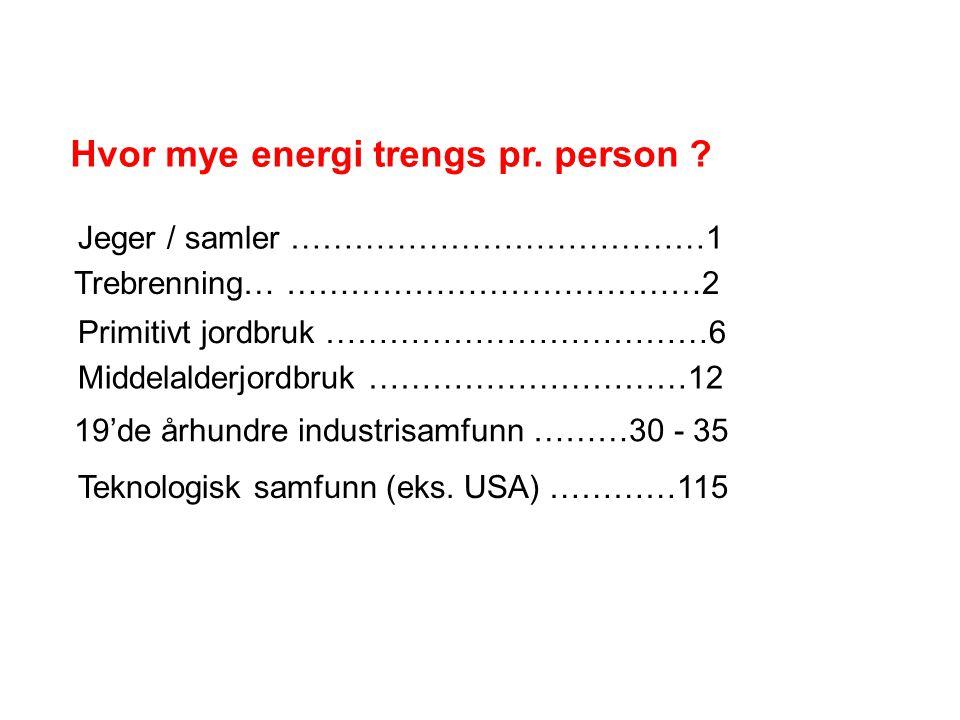 Hvor mye energi trengs pr. person