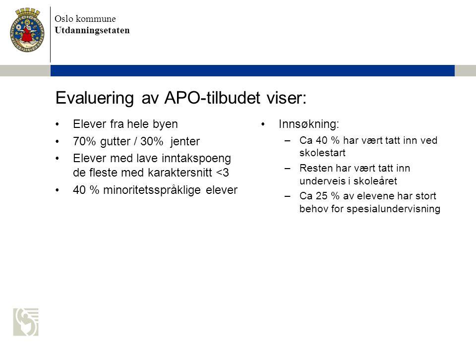 Evaluering av APO-tilbudet viser: