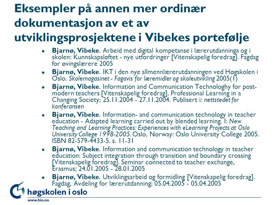 Eksempler på annen mer ordinær dokumentasjon av et av utviklingsprosjektene i Vibekes portefølje
