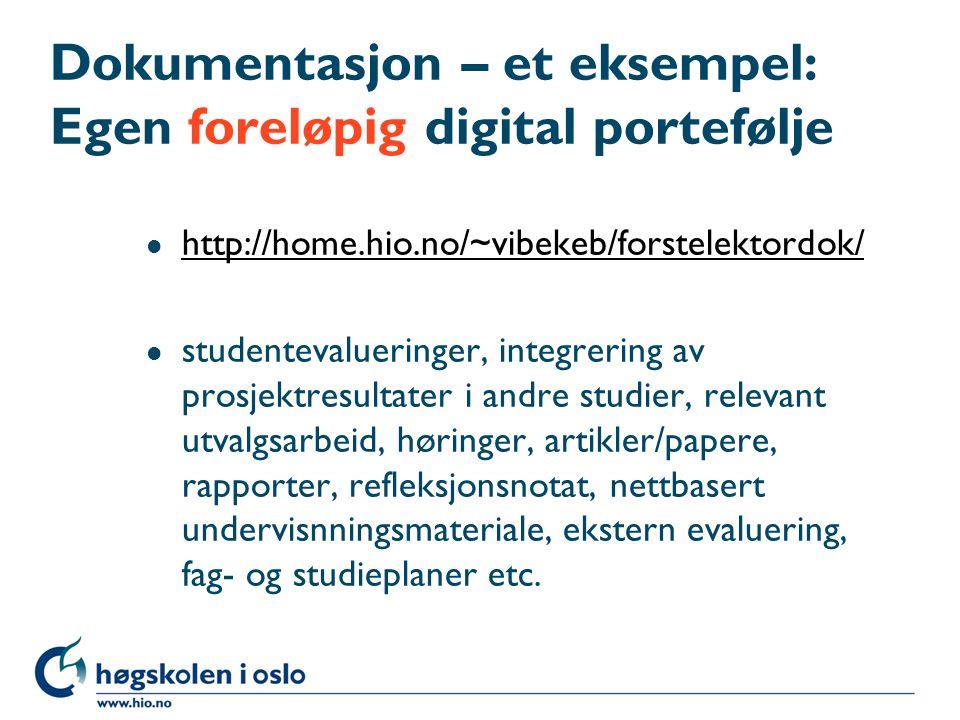 Dokumentasjon – et eksempel: Egen foreløpig digital portefølje