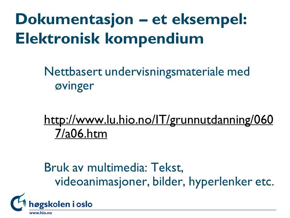Dokumentasjon – et eksempel: Elektronisk kompendium