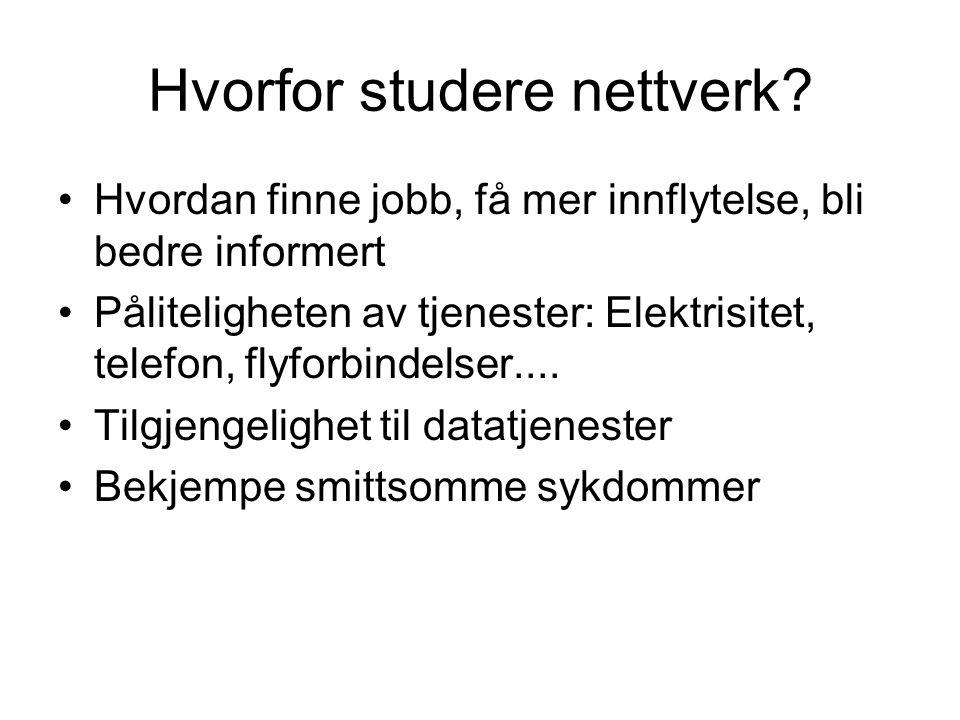 Hvorfor studere nettverk