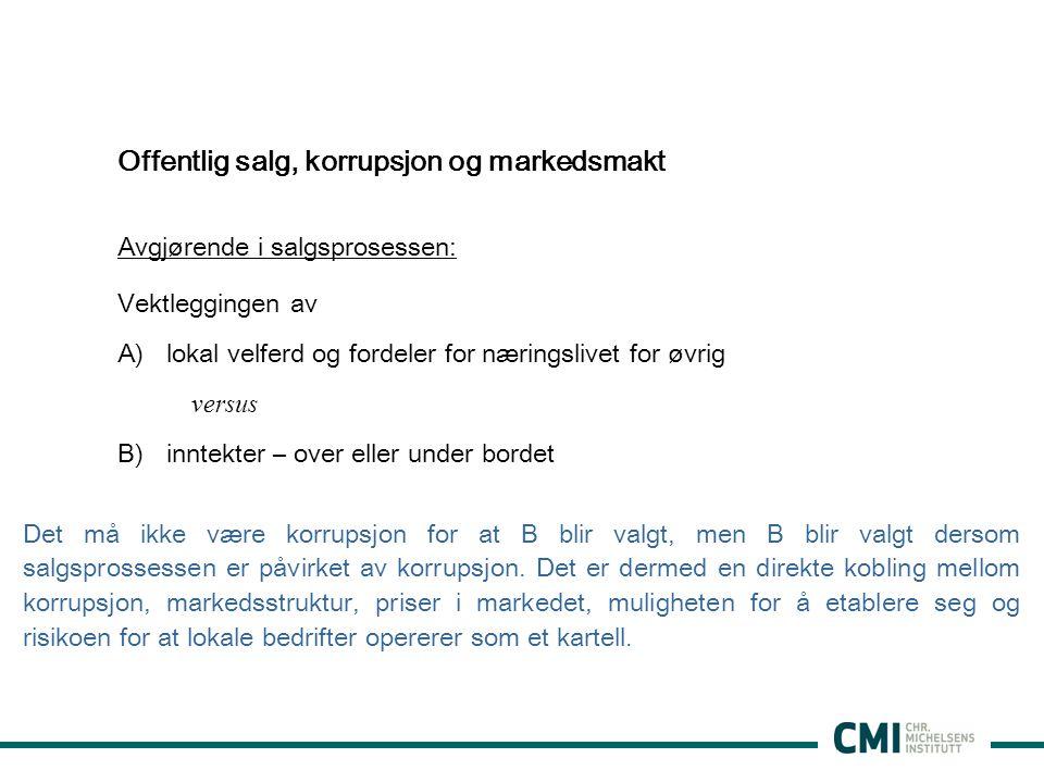 Offentlig salg, korrupsjon og markedsmakt