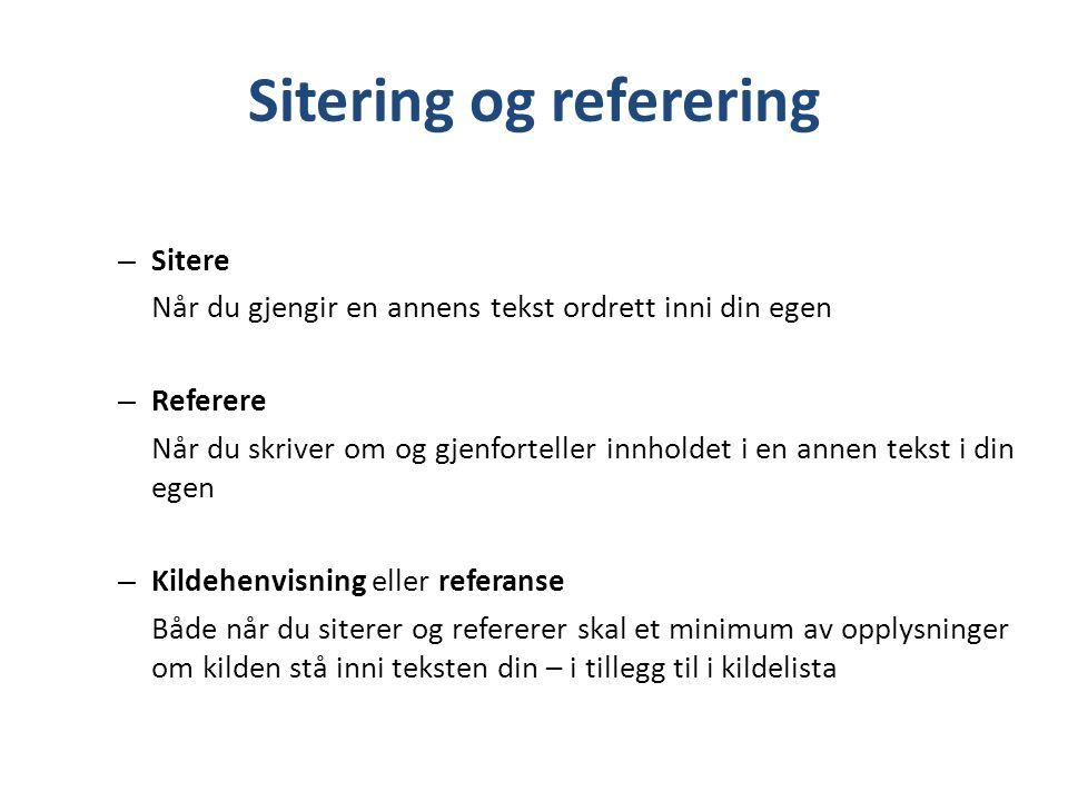 Sitering og referering
