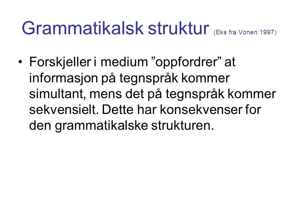 Grammatikalsk struktur (Eks fra Vonen 1997)