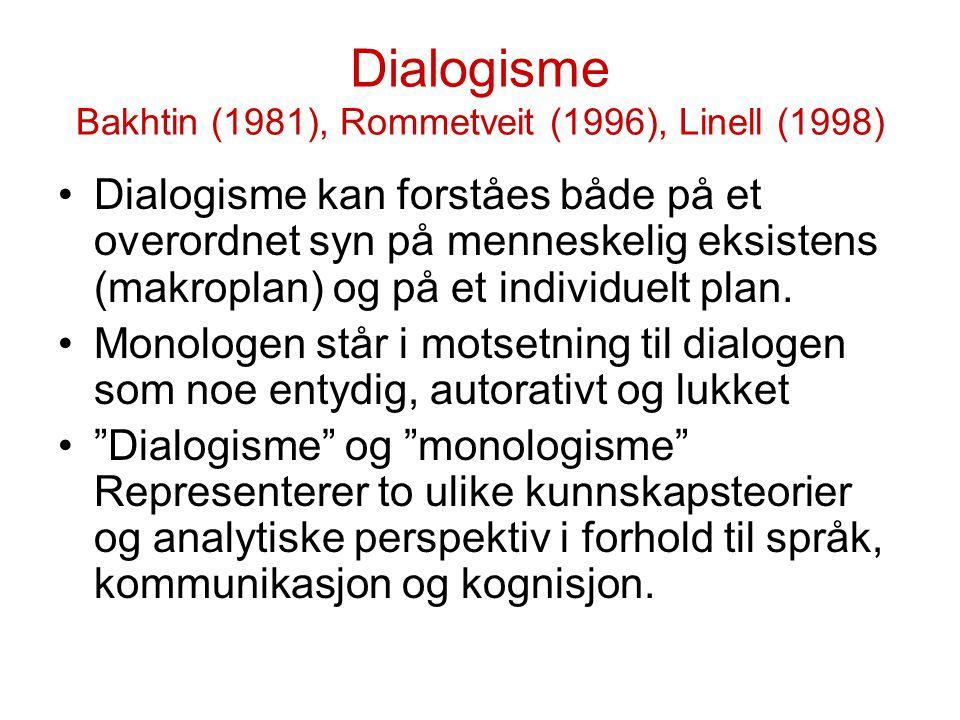 Dialogisme Bakhtin (1981), Rommetveit (1996), Linell (1998)
