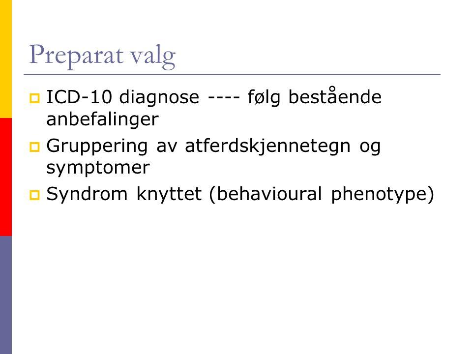 Preparat valg ICD-10 diagnose ---- følg bestående anbefalinger