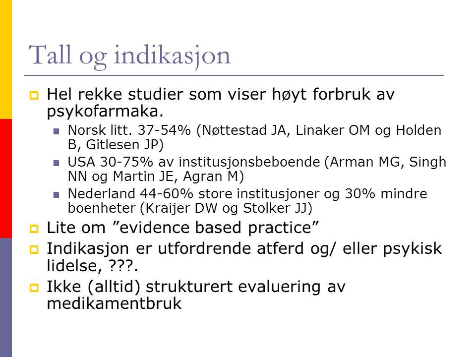 Tall og indikasjon Hel rekke studier som viser høyt forbruk av psykofarmaka. Norsk litt. 37-54% (Nøttestad JA, Linaker OM og Holden B, Gitlesen JP)
