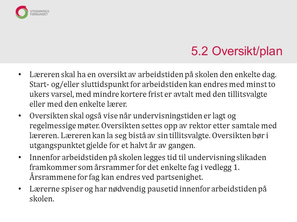 5.2 Oversikt/plan