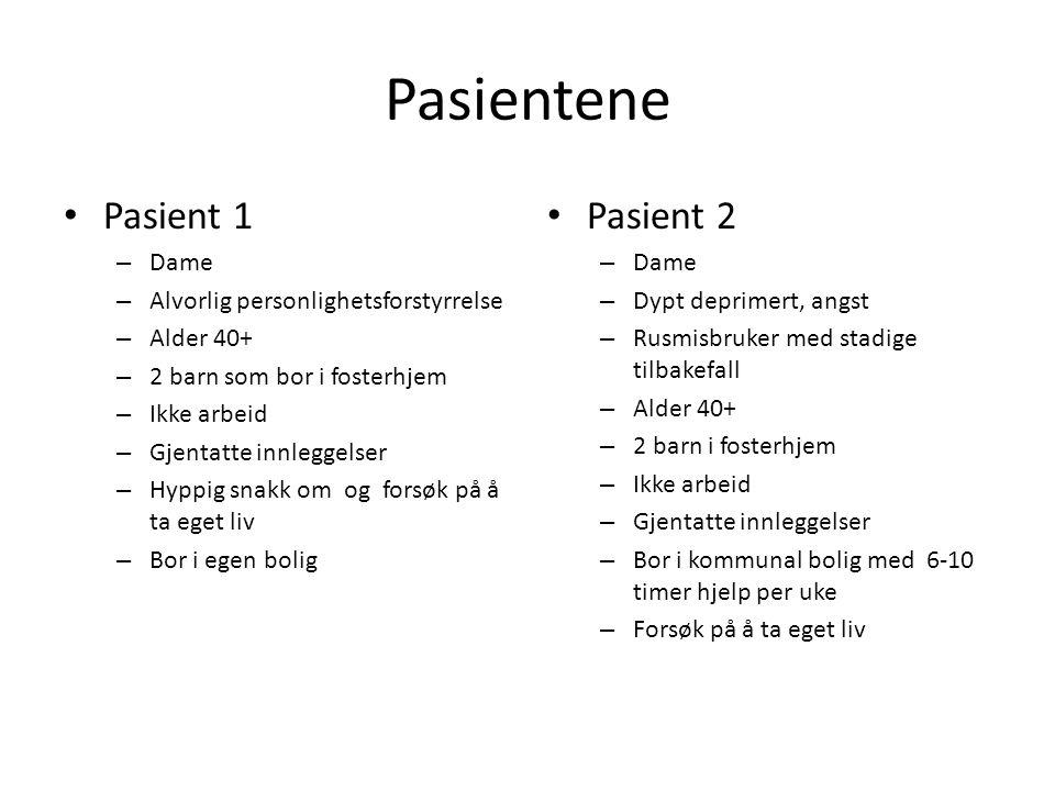 Pasientene Pasient 1 Pasient 2 Dame Alvorlig personlighetsforstyrrelse