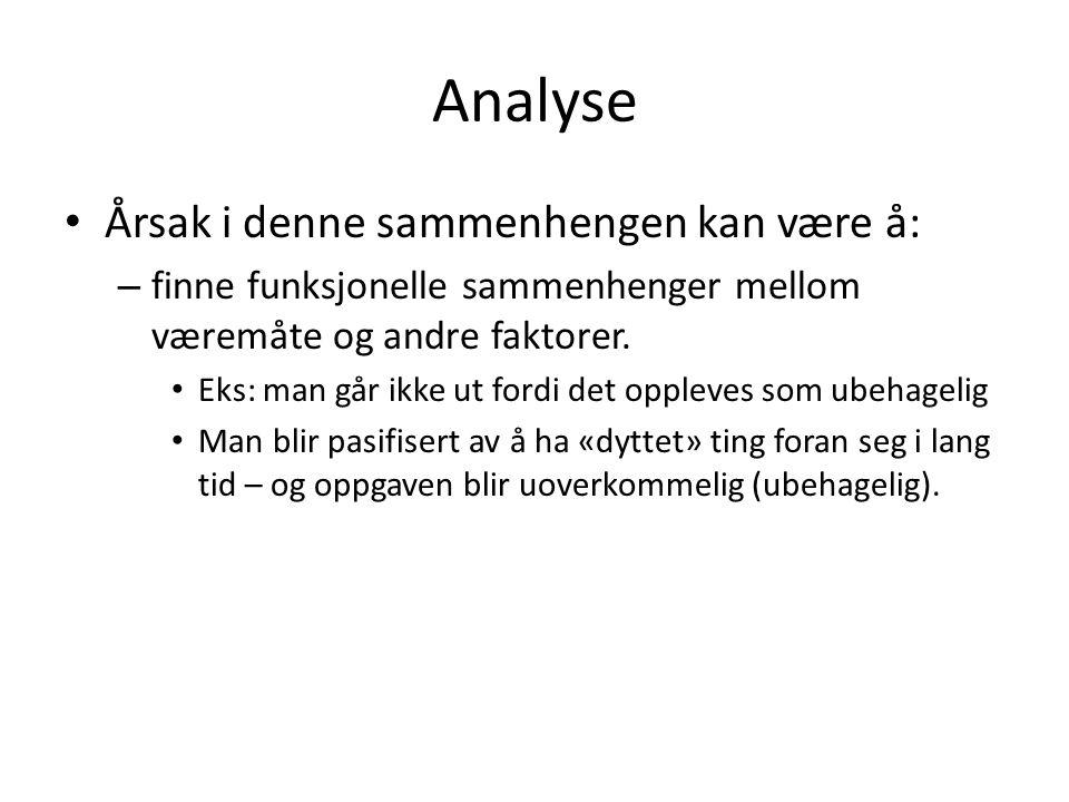 Analyse Årsak i denne sammenhengen kan være å: