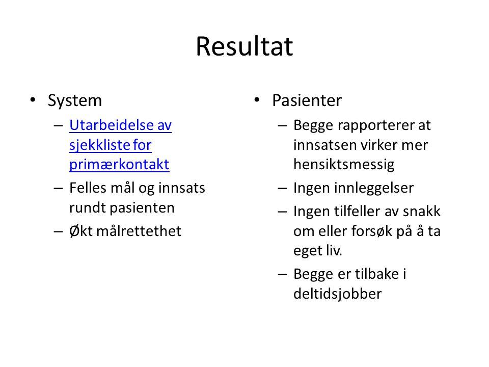 Resultat System Pasienter Utarbeidelse av sjekkliste for primærkontakt