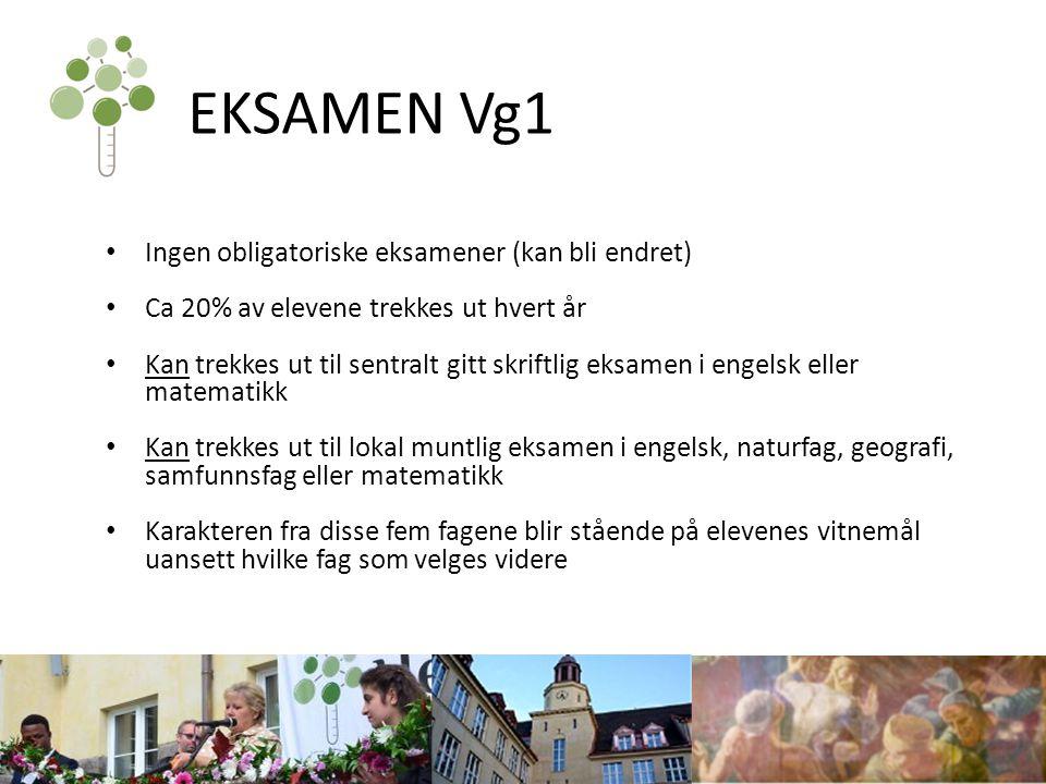 EKSAMEN Vg1 Ingen obligatoriske eksamener (kan bli endret)