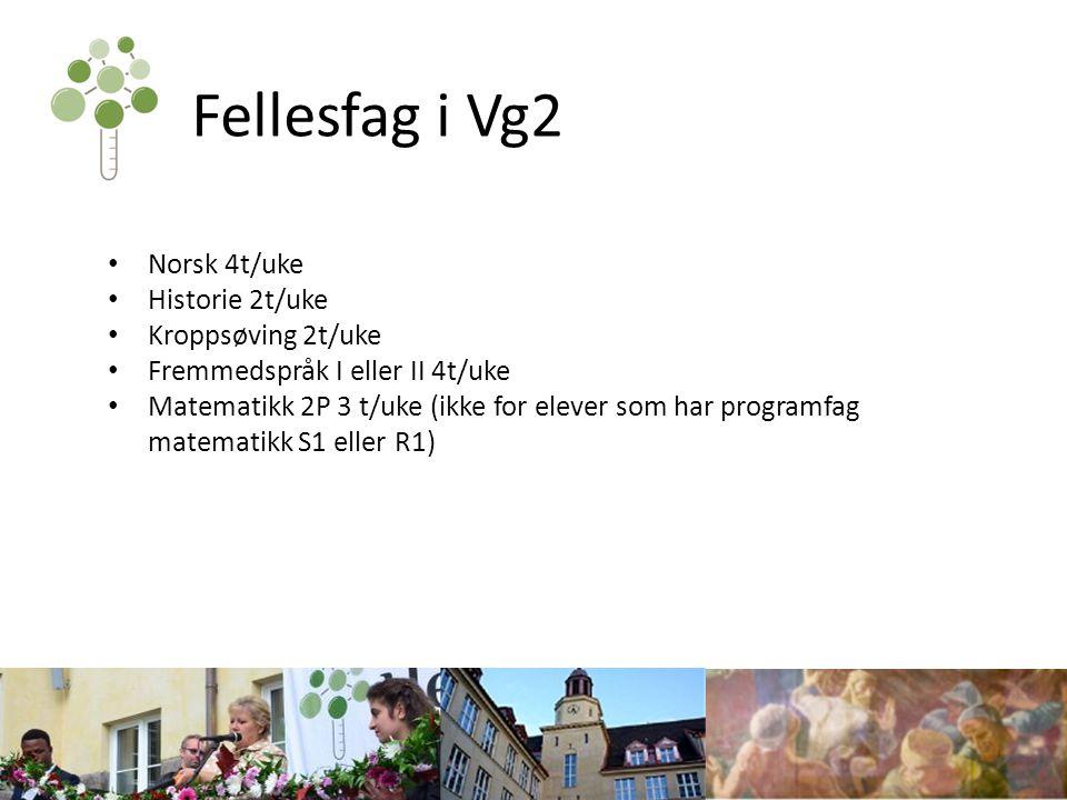 Fellesfag i Vg2 Norsk 4t/uke Historie 2t/uke Kroppsøving 2t/uke