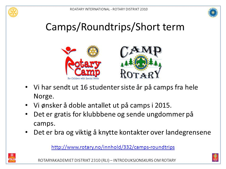 Camps/Roundtrips/Short term