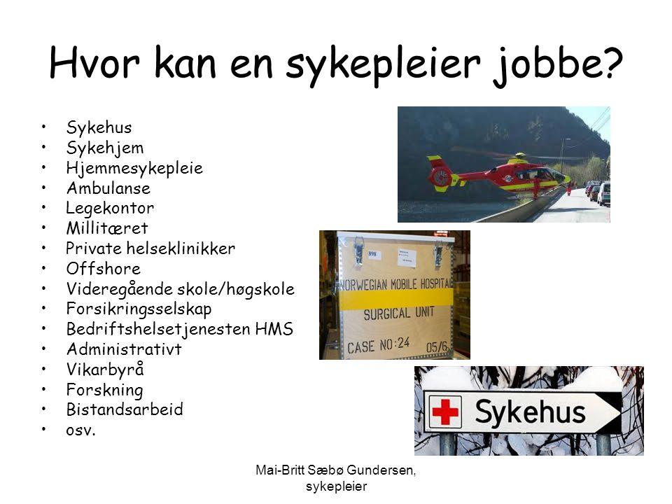 Hvor kan en sykepleier jobbe