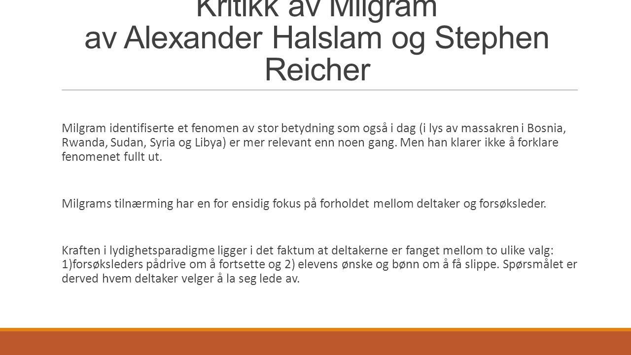 Kritikk av Milgram av Alexander Halslam og Stephen Reicher