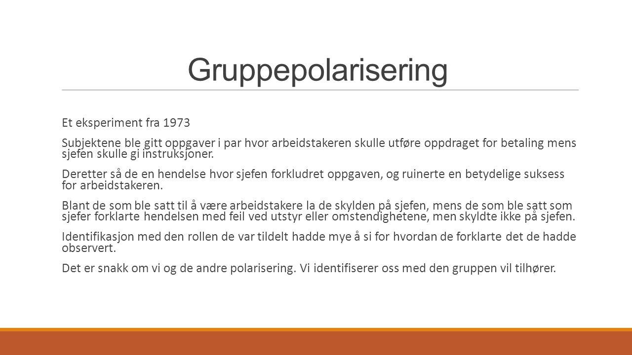 Gruppepolarisering Et eksperiment fra 1973