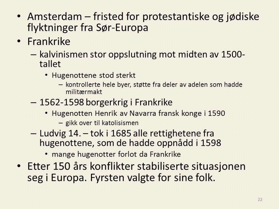 Amsterdam – fristed for protestantiske og jødiske flyktninger fra Sør-Europa