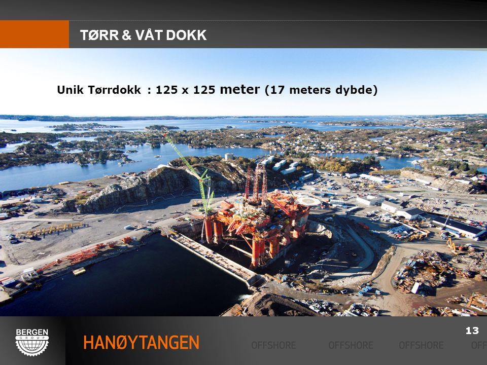 TØRR & VÅT DOKK Unik Tørrdokk : 125 x 125 meter (17 meters dybde) 13