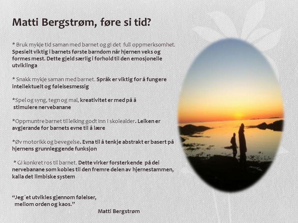 Matti Bergstrøm, føre si tid