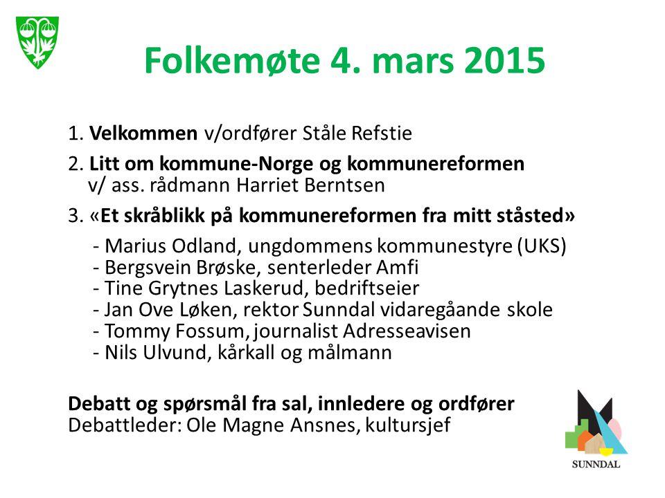 Folkemøte 4. mars 2015 1. Velkommen v/ordfører Ståle Refstie