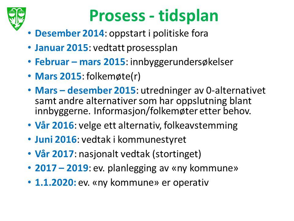 Prosess - tidsplan Desember 2014: oppstart i politiske fora